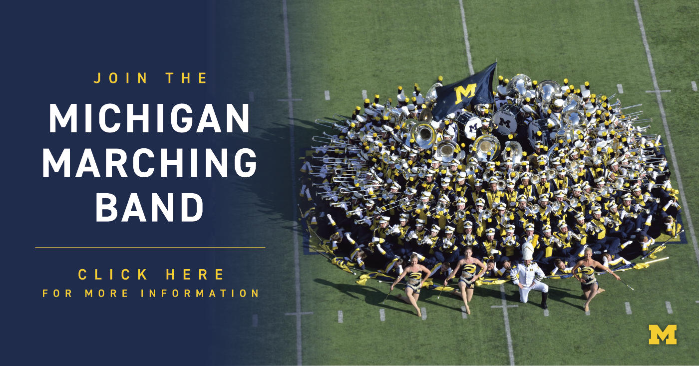 A picture of the Michigan Marching Band that reads, Join the Michigan Marching Band. Click here for more information. The URL is also in the text that follows the image.